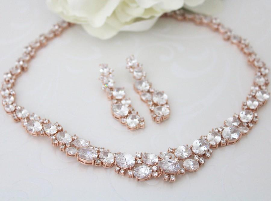 Rose Gold Necklace Set Crystal Bridal Wedding Jewelry Pink Earrings Chunky Cz