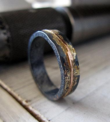 Mens Wedding Band Rustic Wedding Band Mens Wedding Ring Oxidized