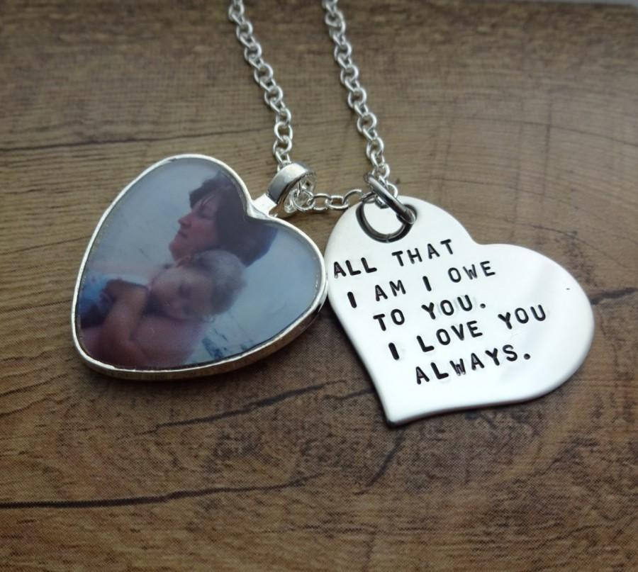 Personalized hand stamped heart photo charm necklace for A gift for a mom