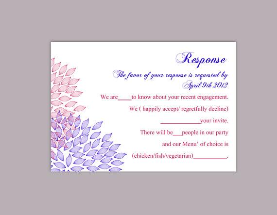 Свадьба - DIY Wedding RSVP Template Editable Text Word File Download Rsvp Template Printable RSVP Cards Blue Fuschia Rsvp Card Floral Rsvp Card