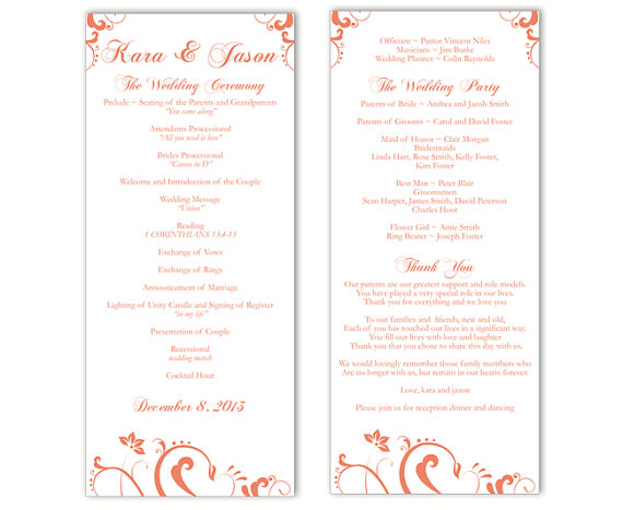 Wedding - Wedding Program Template DIY Editable Text Word File Instant Download Program Orange Program Floral Program Printable Wedding Program 4x9.25