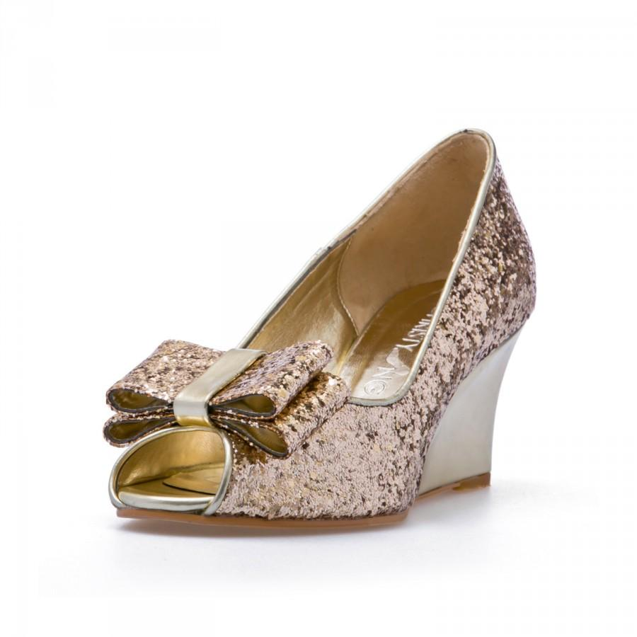 Ashley, Gold Glitter Wedges Wedding Shoes, Gold Glitter BridalWedges ...