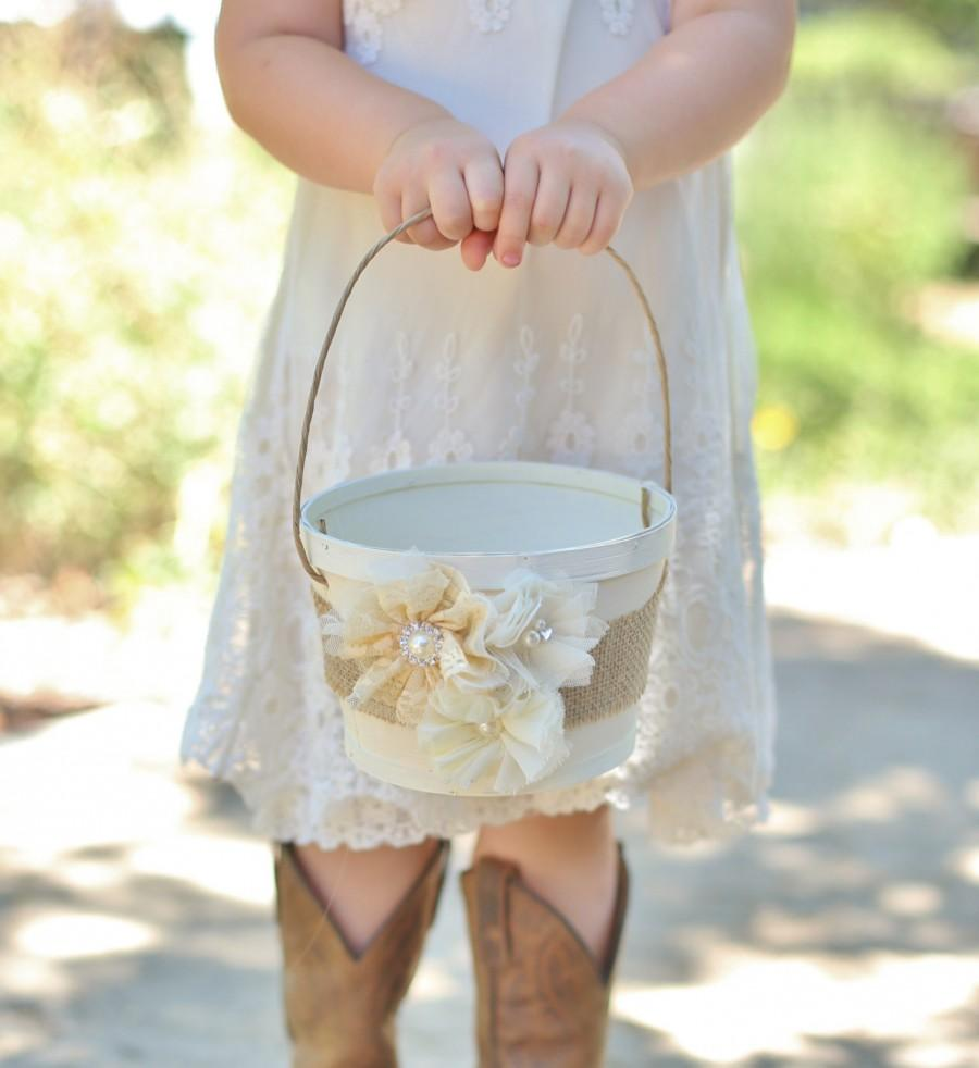 زفاف - Rustic Flower Girl Basket Vintage Inspired Wedding Burlap Lace Rosettes Pearls (Item Number MHD20001)