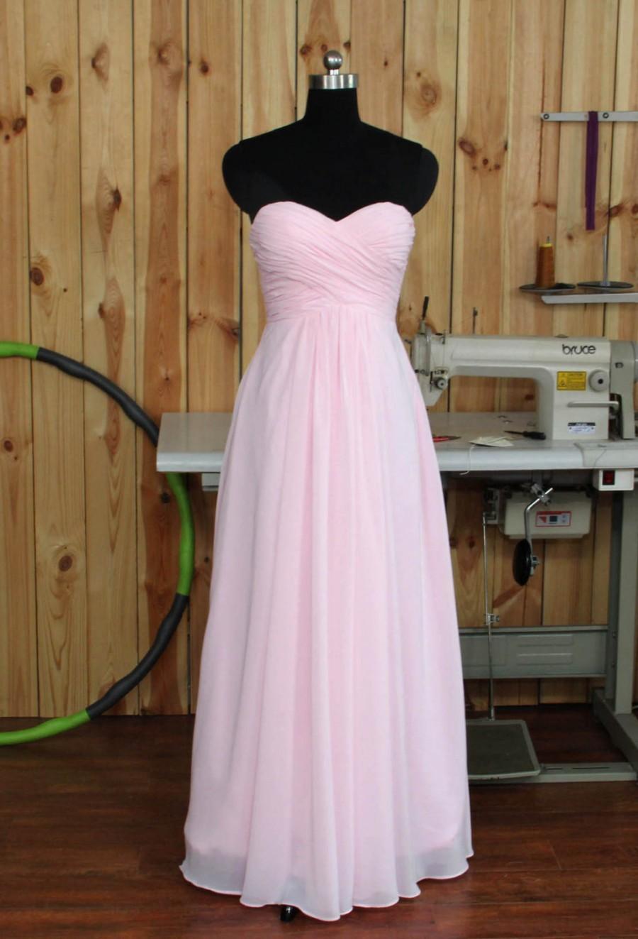 Pale Pink Bridesmaid Dress, Chiffon Wedding Dress, Sweethear Evening ...