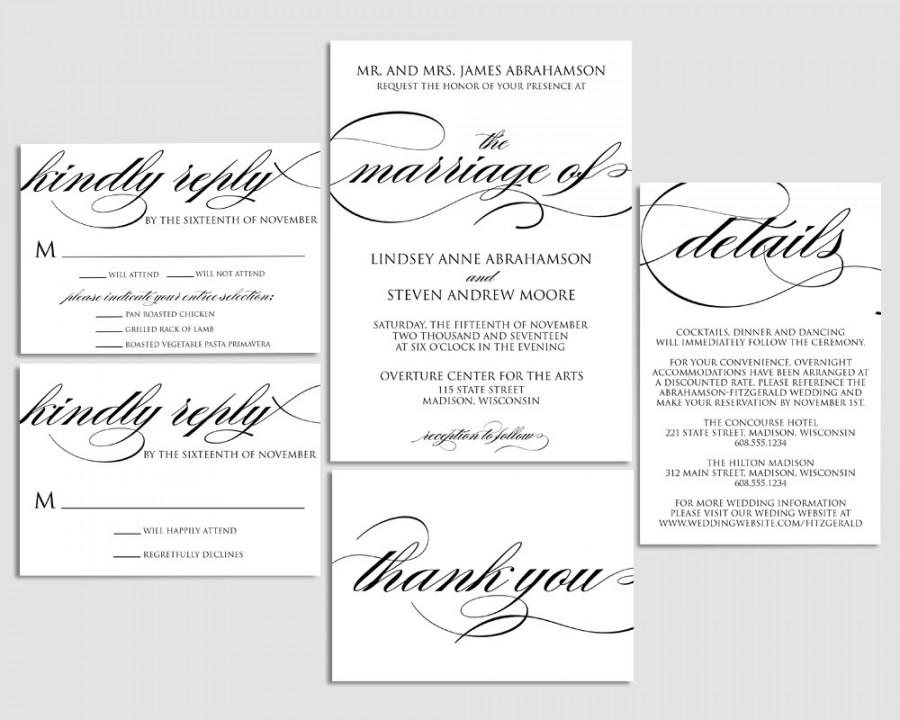 Wedding Invitation Printable, Wedding Invite, Formal Wedding ...