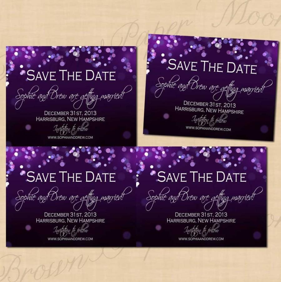 Wedding - Purple Night Sky Save the Dates (5.5x4.25): Text-Editable, Printable on Avery® Postcard Products, Instant Download