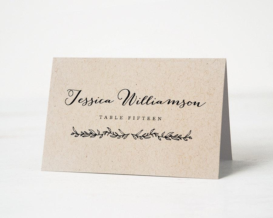 Printable Place Card Template, Wedding Place Cards, Editable ...