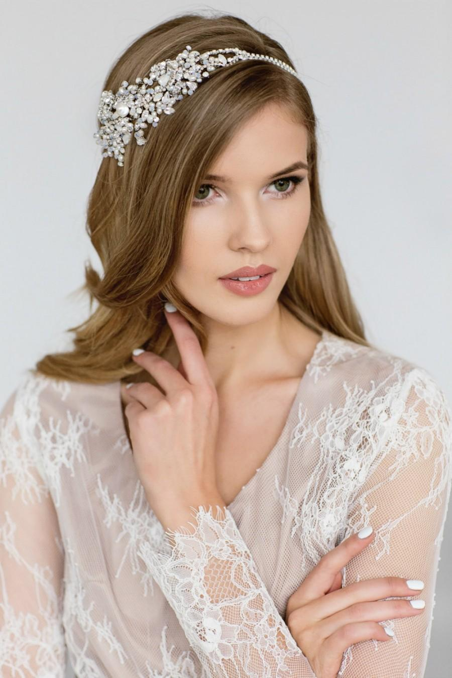 Mariage - Wedding Headpiece , Wedding Hair Accessories , Bridal Hair Chain, Crystal Pearl Headband, Hair Piece, Swarovski Opal Bridal Headpiece