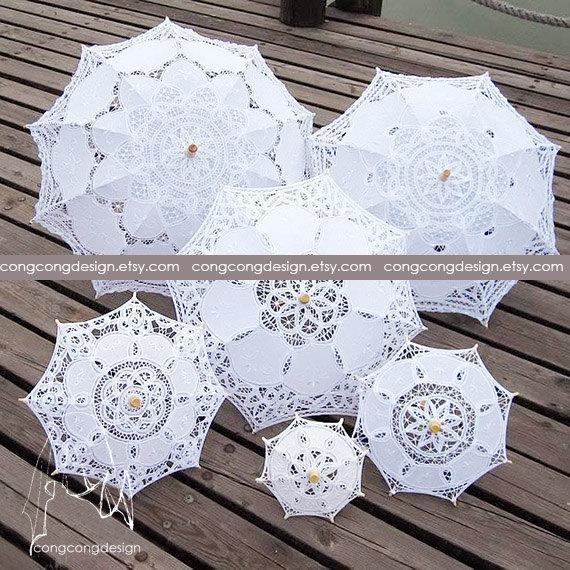 Свадьба - 50cm(19.6inch)/64cm(25inch)/77cm(30inch)88cm(35inch)Diameter(opened).Lace parasols