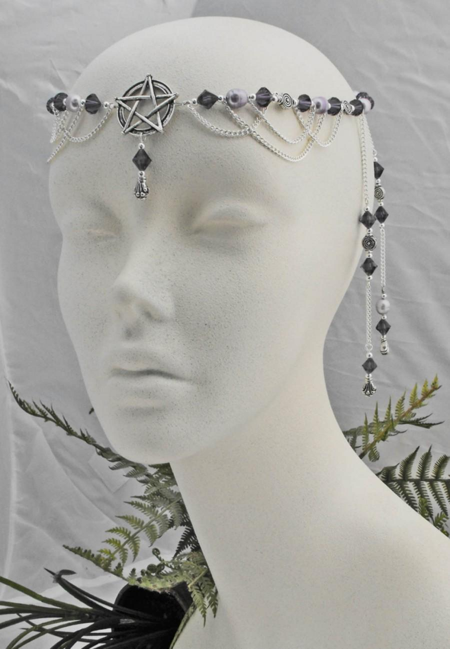 Mariage - Purple pearl pentacle priestess CIRCLET diadem wiccan pagan Item 3476 One of a Kind ooak christmas gift