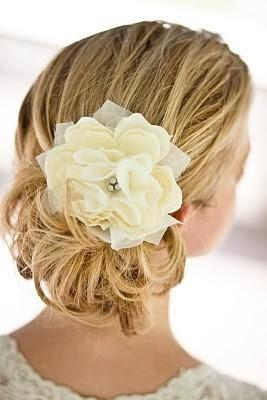 Wedding - Small Pacific Ivory Peony Bridal Hair Flower with Silver Grey Pearls- Weddings, Bridesmaid, Set, Pearls, Gift