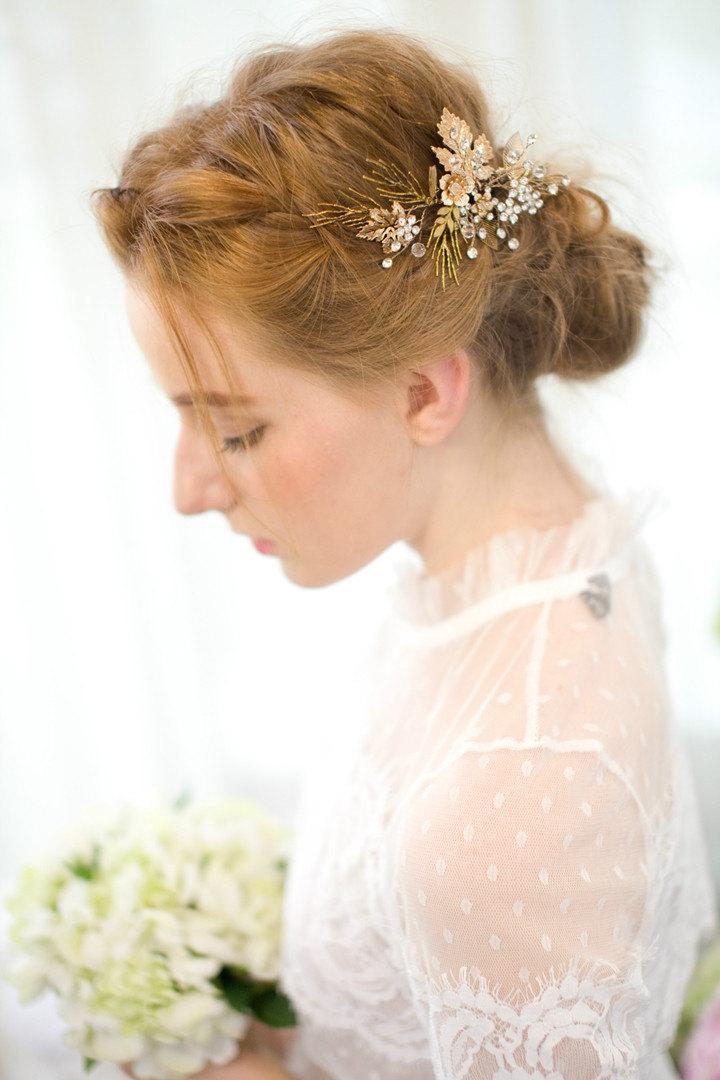 Mariage - Gold Bridal Pin, Gold flower and leaf with crytal, Vintage Flower, Gold Wedding hair accessories, Bridal Headpieces