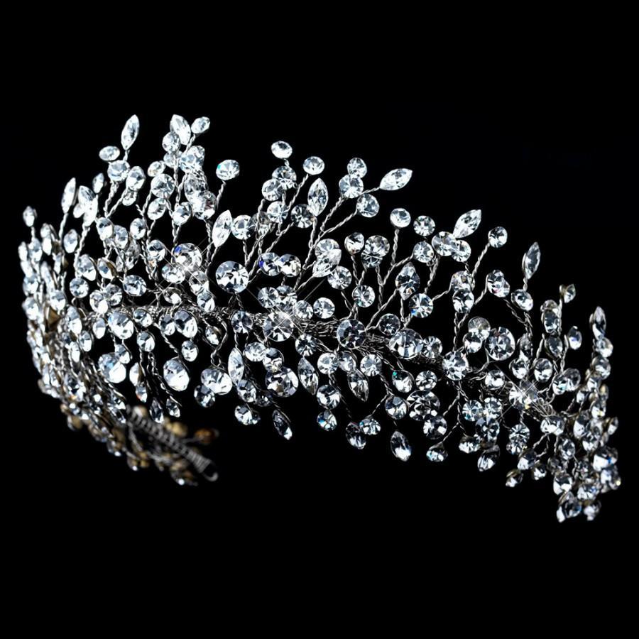 Wedding - Rhinestone Wedding headpiece, Crystal Bridal tiara, Rhinestone hair vine, Flexible headpiece, Wedding hair accessory, Swarovski hair piece