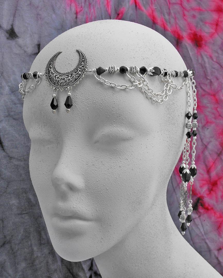 Mariage - CIRCLET tiara crown Black Onyx & Crystal Lunar Moon Goddess priestess diadem renaissance medieval ritual wiccan pagan OOAK