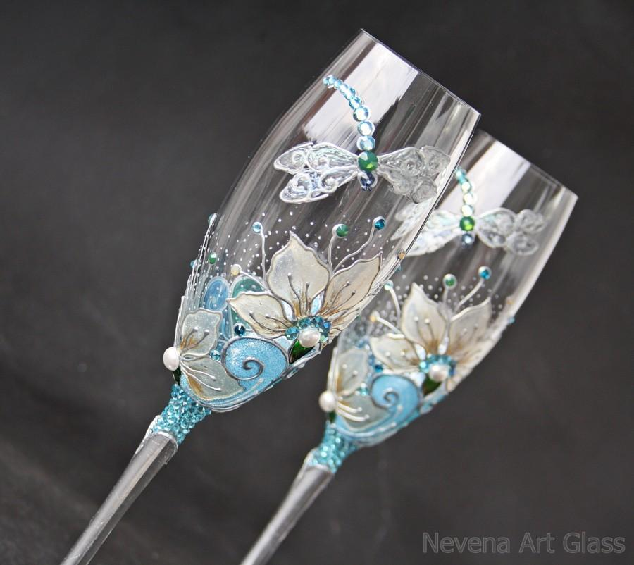 Wedding Gles Champagne Flutes Wine Hand Painted Dragonfly Set Of 2