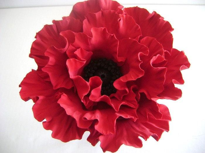 Mariage - Red Poppy Cake Topper Flower Cake Topper Clay Wedding Cake Decor Wedding cake topper Flower Made to Order