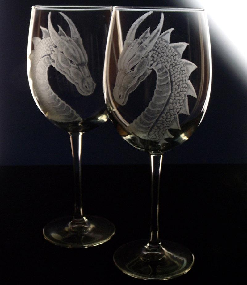 Engraved Wine Glasses For Wedding Gift : Wedding - Wedding Wine Glass - Dragon - Gift Set - Renaissance Wedding ...