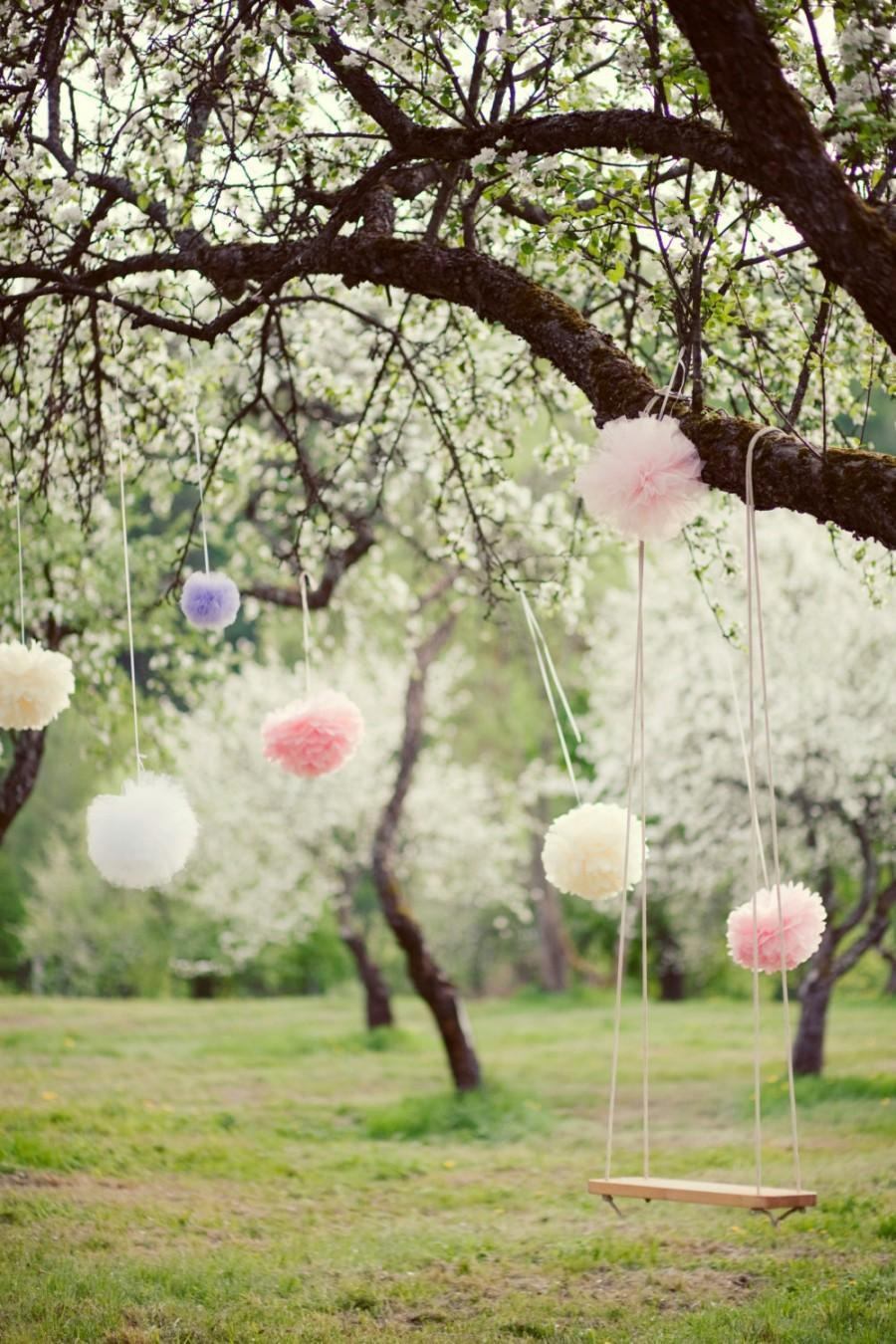 Wedding - 30 mixed sizes Tissue paper Pom Pom set  - pick your colors