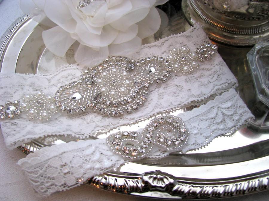 Hochzeit - White Lace / Ivory Lace Bridal Garter Set, Crystal Rhinestone Pearl Wedding Garter, Keepsake and Toss Heirloom Garter, Plus Size Available