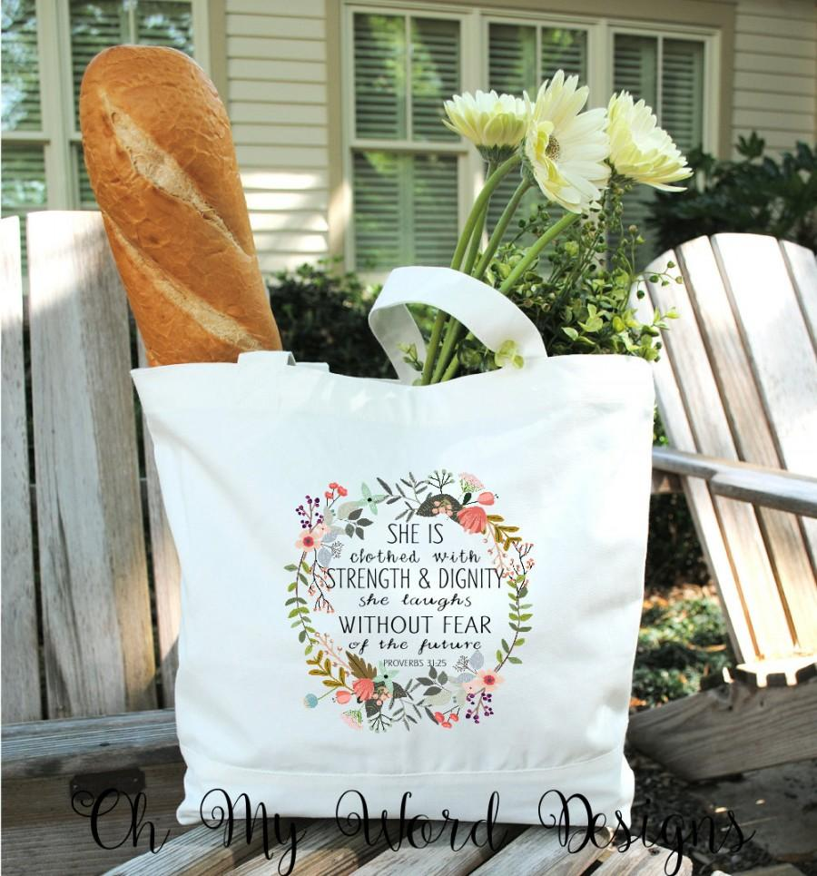 Свадьба - Scripture Tote Bag-Cotton Canvas Tote Bag-Watercolor Flower Tote-Flower Wreath Tote Bag-Proverbs 31:25 Tote