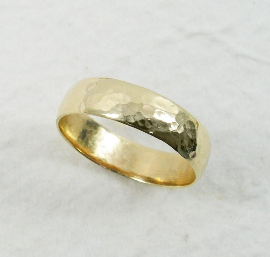Gold Wedding Band Hammered Ring Statement Rustic Texture Finish Unisex 14K 5mm