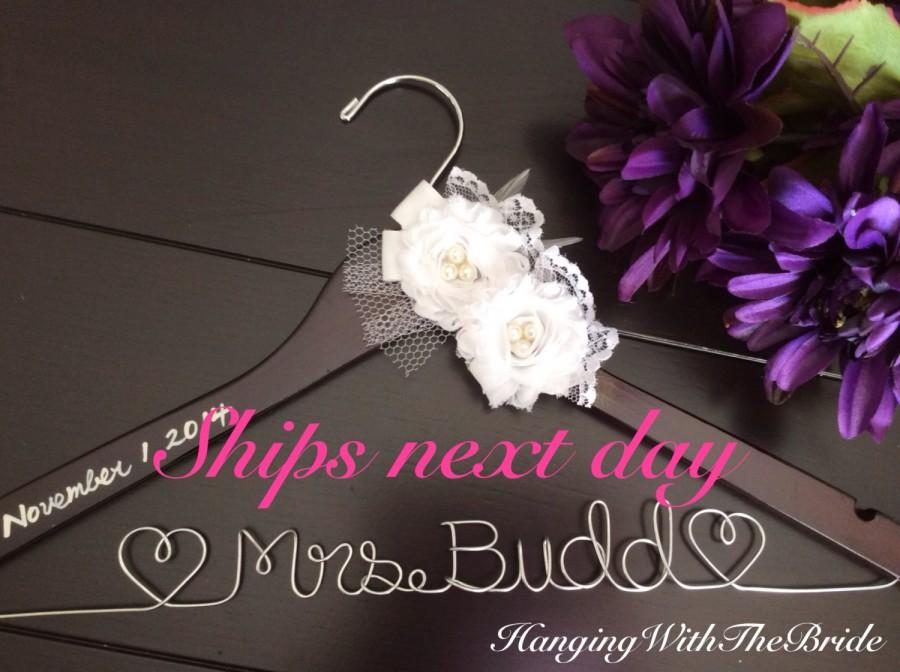 Wedding Gift List Next : ships next business day, Wedding hanger, custom wire hanger, bridal ...