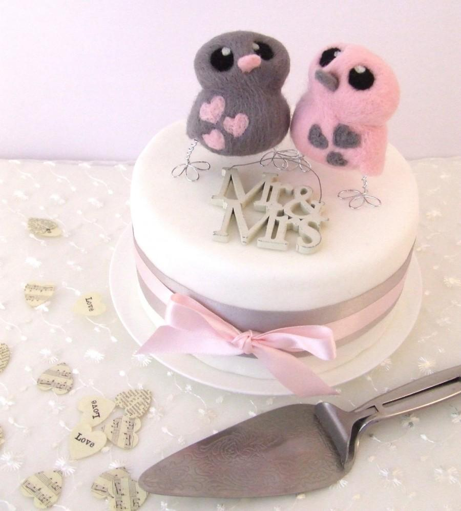 Mariage - Bird Wedding Cake Topper in Pink and Grey