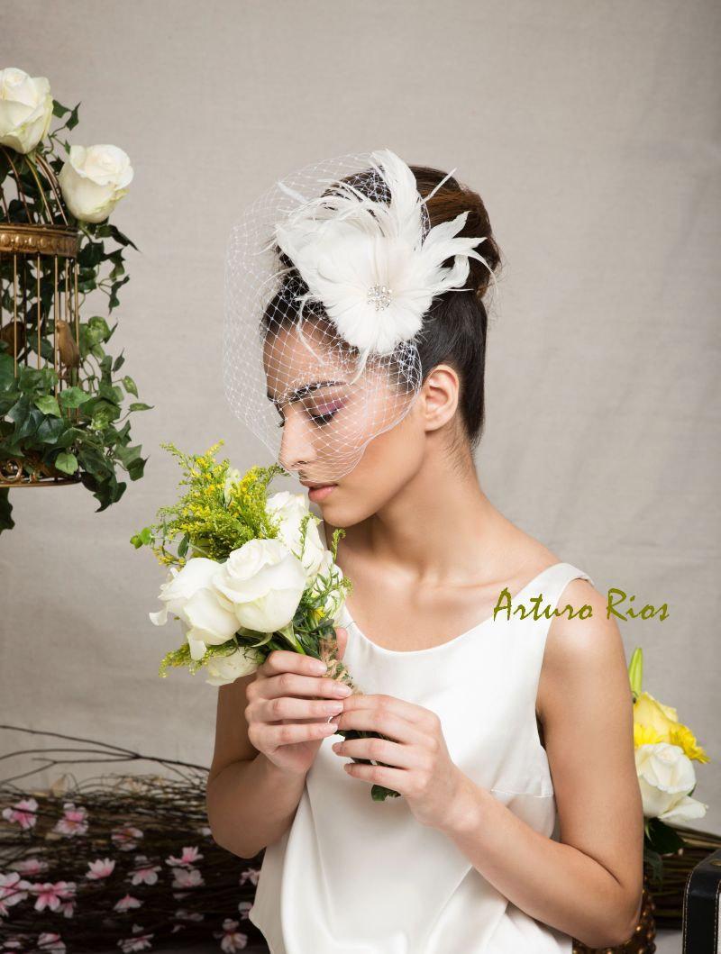 Ivory Bridal Headpiece Wedding Veil Birdcage Veil