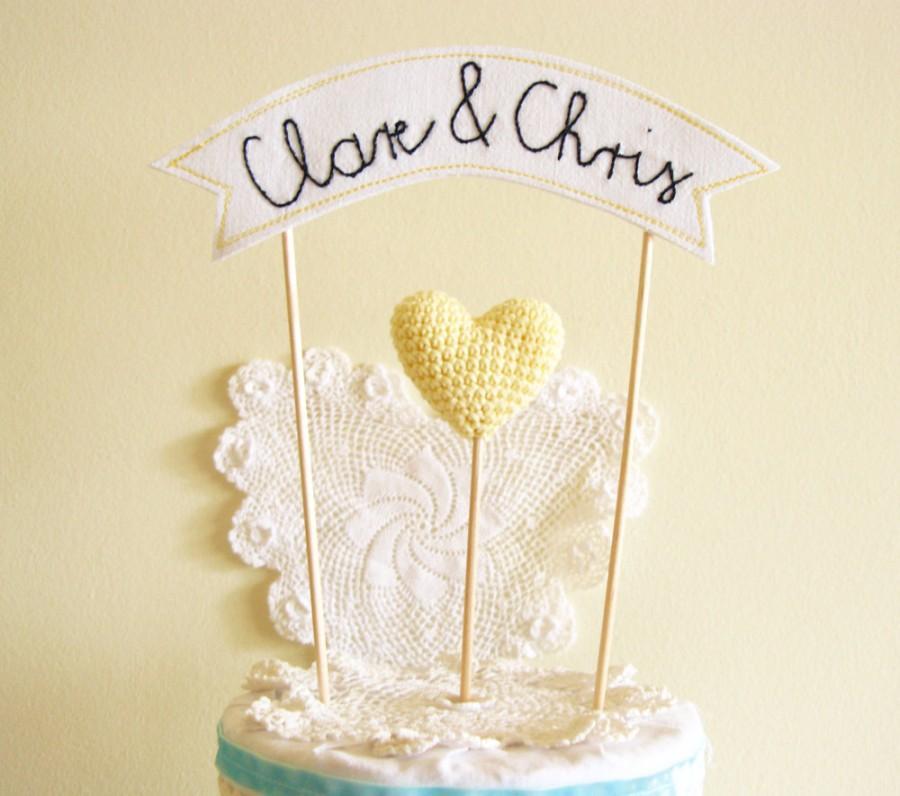 زفاف - Personalized Wedding Cake Topper, Banner Cake Topper, Name Cake Topper
