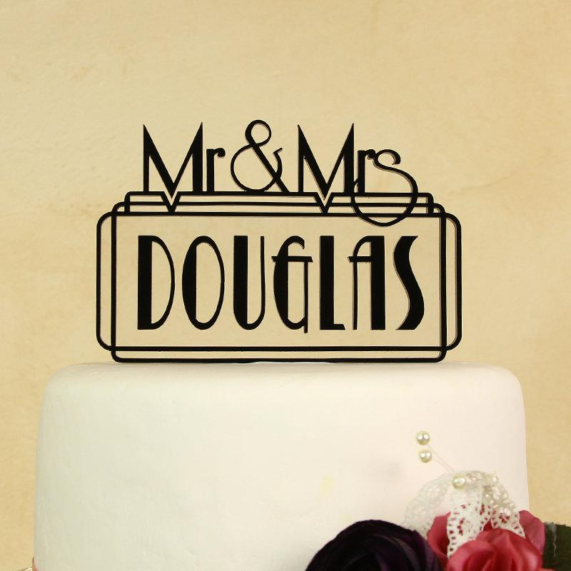 زفاف - Wedding cake topper Mr. and Mrs. personalized with floating letters includes display base by Distinctly Inspired (style AN-2)