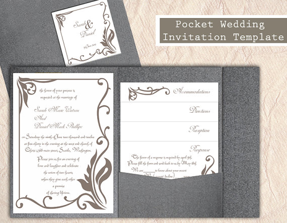 Hochzeit - Pocket Wedding Invitation Template Set DIY EDITABLE Word File Download Gray Wedding Invitation Coffee Invitation Printable Invitation