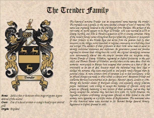 زفاف - COAT of ARMS / Family Crest & SURNAME Origin / History on parchment style paper