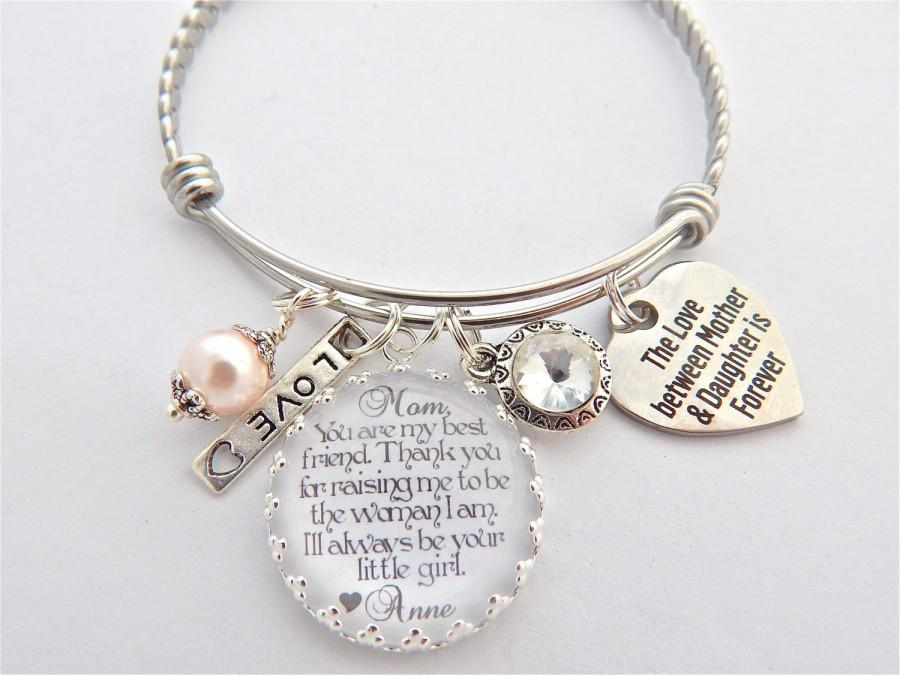 Mother Daughter Gift Of The Bride Wedding Keepsake Charm Bracelet Your My Inspiration Gl Dome Bangle In Law