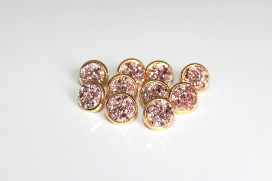 il gold rose listing earrings druzy stud