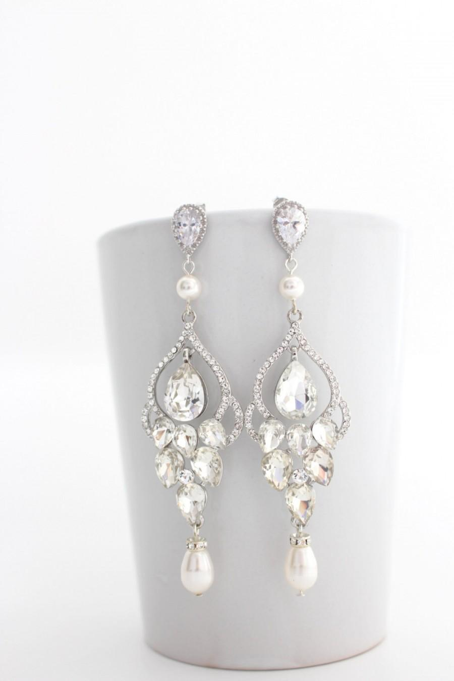 Long Bridal Chandelier Earrings Wedding Crystal And Pearl Vintage Style Jewelry Statement Post