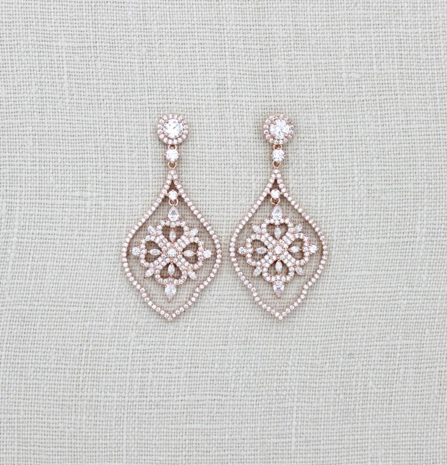 Rose Gold Earrings Wedding Chandelier Bridal Jewelry Swarovski Crystal Cz