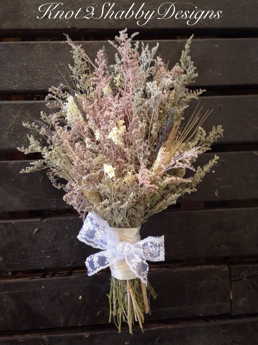 زفاف - Dried flower bouquet - bridesmaids bouquet - vintage bouquet - shabby chic - caspia bouquet - lavender - blush - lavender -