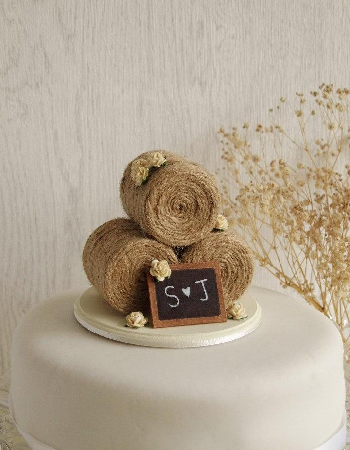 Rustic Hay Bale Wedding Cake Topper With Roses Rose Farm Summer