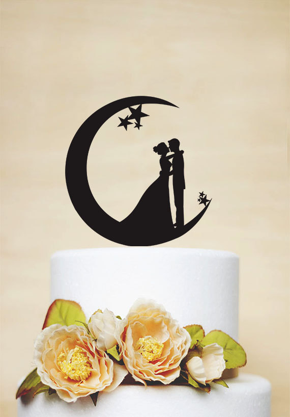 Hochzeit - Wedding Cake Topper, Moon and Stars Cake Topper,Acrylic Cake Topper,Bride and Groom Silhouette,Custom Cake Topper P151