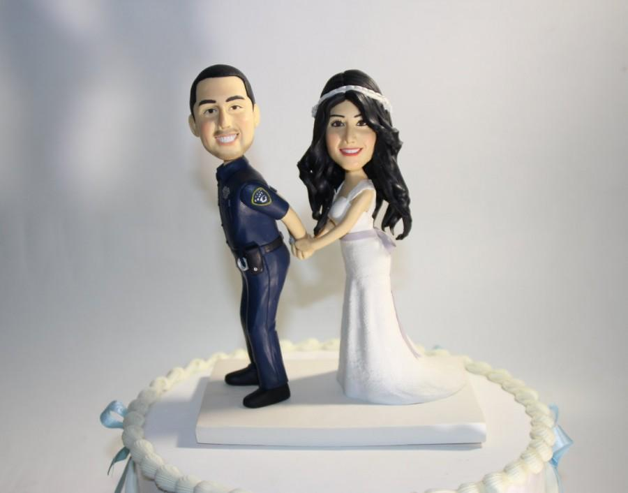 Police Theme Wedding Cake Topper Funny Garda Uniform Cake Topper