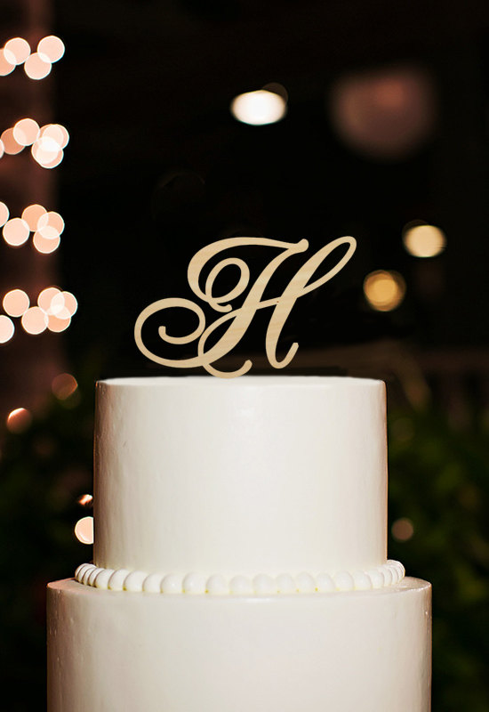 زفاف - Monogram Cake Topper,Letter H Cake Topper For Wedding,H Cake Topper,Letter H Cake Topper For Birthday,Script Letter Wood Cake Topper Decor