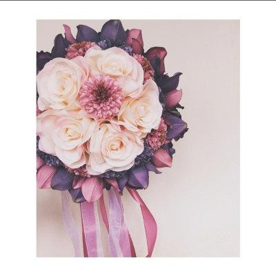 Mariage - Pink and Purple Flowers  Bouquets for Wedding Bridal Bouquets Centerpieces Home Decoration