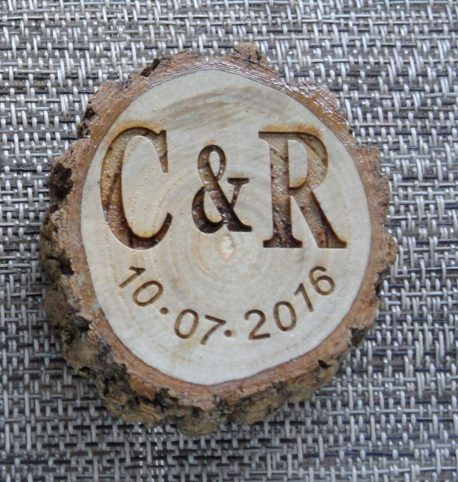 wooden log cut out laser engraved magnet or key chain engagement