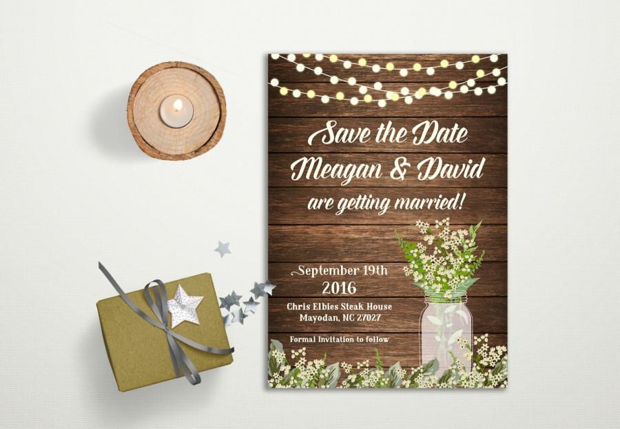 Wedding - Save the date Card Printable, Rustic Save the Date Card, Babys Breath Mason Jar Save the Date Card, Printable Save the Date, Digital File