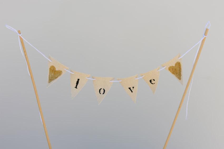 Wedding - LOVE Mini Pennant Cupcake/ Wedding Cake Banner Topper / Bunting/ Cake Topper/ Bridal Shower/ Decor/ Gold glitter heart - Ready to ship