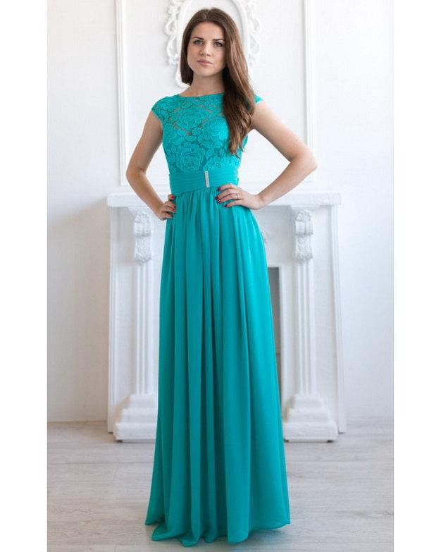 Turquoise Bridesmaid Dress Long Lace Blue Wedding Teal
