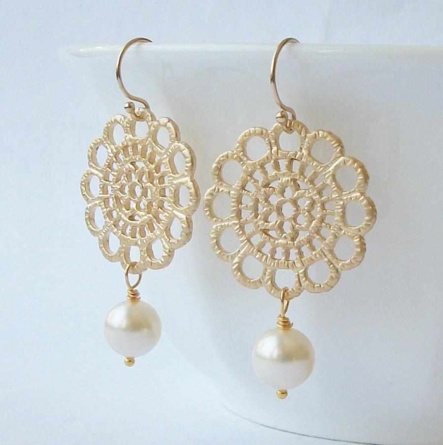 زفاف - ON SALE Pearl Lace Dangle Earrings Wedding Jewelry