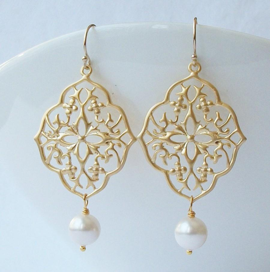 زفاف - Pearl Floral Dangle Earrings Wedding Jewelry