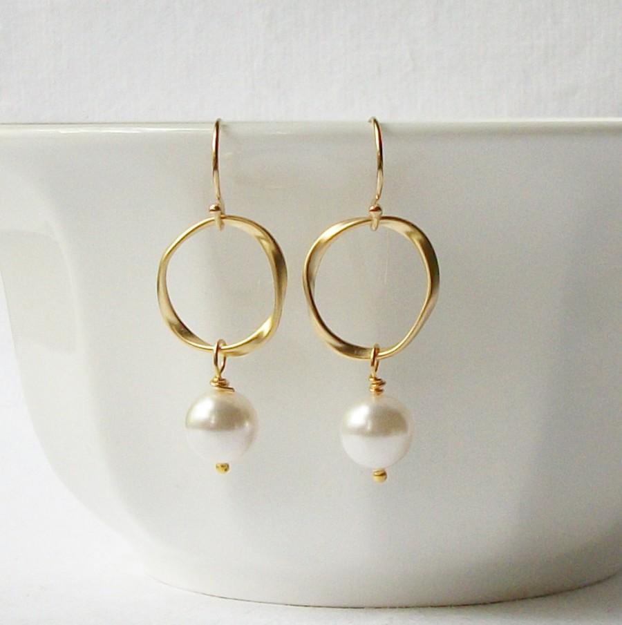 Wedding - Pearl Eternity Dangle Earrings Wedding Jewelry