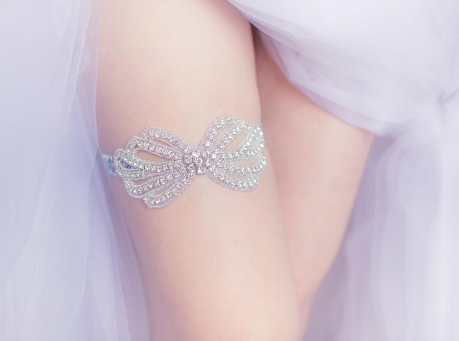 Wedding - Wedding Garter Belt- Bow rhinestones, pearls, rhinestone garter belt, Bride lingerie, gift for bride, bachelorette party, bridal shower